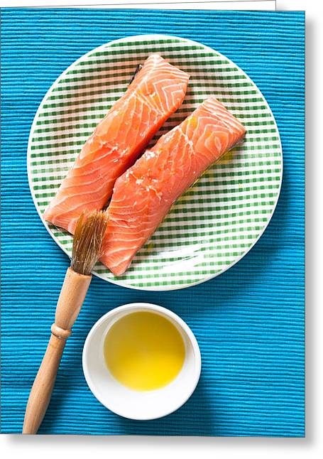 Olive Oil Greeting Cards - Salmon fillets Greeting Card by Tom Gowanlock
