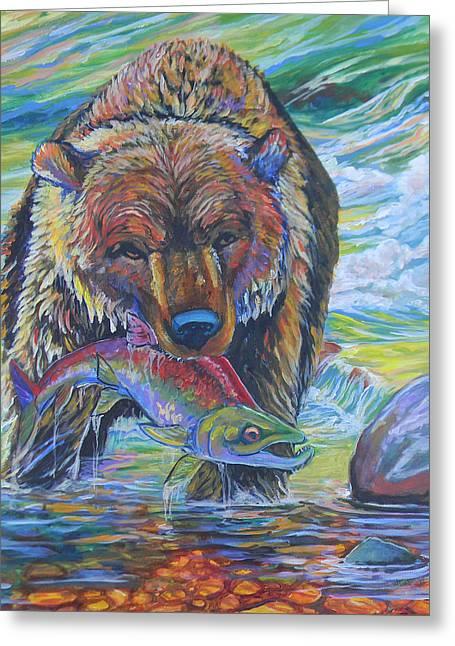 Jenn Cunningham Greeting Cards - Salmon Fishing Grizzly Greeting Card by Jenn Cunningham