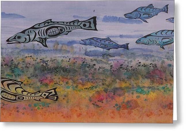 Stream Tapestries - Textiles Greeting Cards - Salmon in the Stream Greeting Card by Carolyn Doe