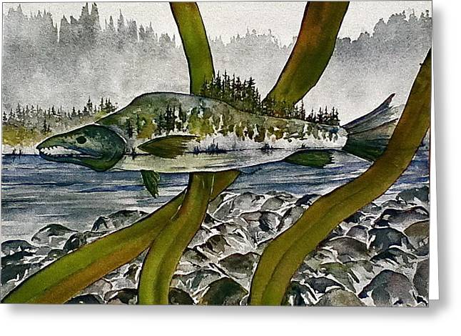 Salmon Paintings Greeting Cards - Salmon Landscape Greeting Card by Carolyn Doe