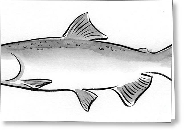Salmon Paintings Greeting Cards - Salmon Greeting Card by Laura Gilmore