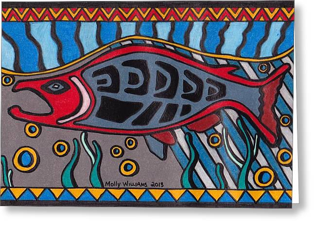 Salmon Drawings Greeting Cards - Salmon Greeting Card by Molly Williams