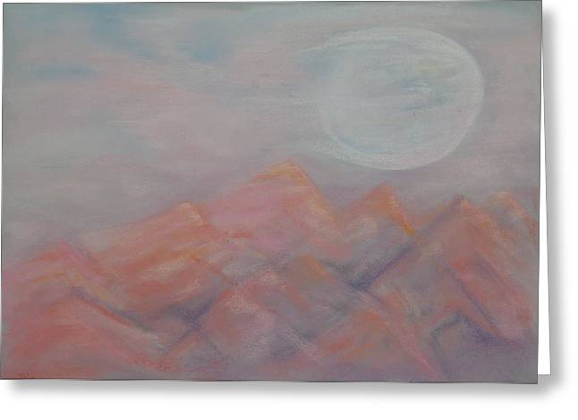 Salmon Pastels Greeting Cards - Salmon Moon Rising Greeting Card by Jocelyn Paine