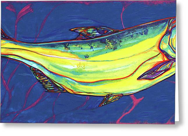 Salmon Paintings Greeting Cards - Salmon of Knowledge Greeting Card by Derrick Higgins