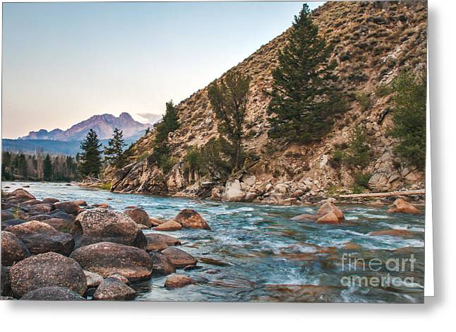 Haybales Greeting Cards - Salmon River In The Twilight Greeting Card by Robert Bales