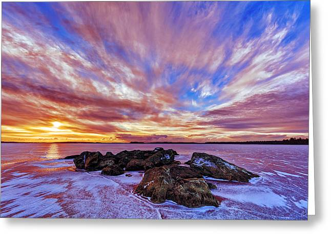 New England Winter Greeting Cards - Salmon Sunrise Greeting Card by Bill Caldwell -        ABeautifulSky Photography