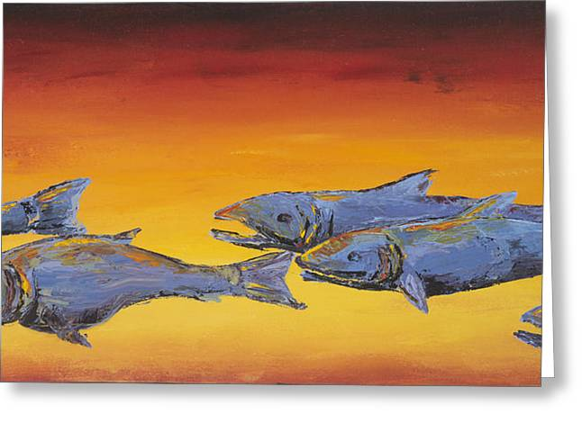 Golden Fish Paintings Greeting Cards - Salmon Sunrise Greeting Card by Carolyn Doe