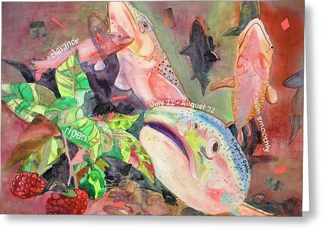 Salmon Paintings Greeting Cards - Salmon Totem Greeting Card by Susan Cafarelli Burke