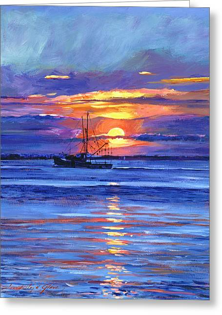 Salmon Paintings Greeting Cards - Salmon Trawler at Sunrise Greeting Card by David Lloyd Glover