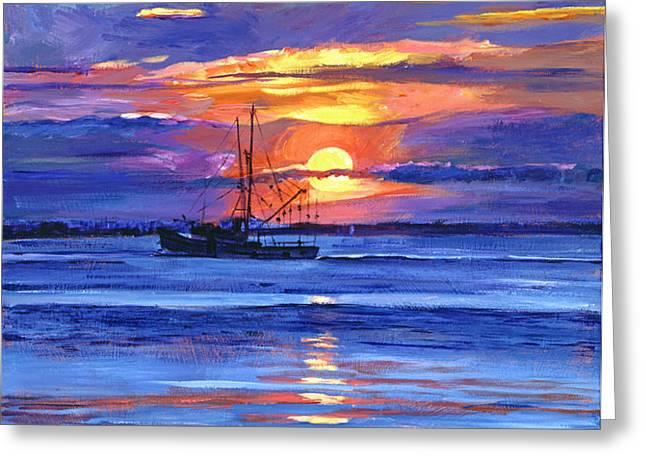 Salmon Trawler at Sunrise Greeting Card by David Lloyd Glover