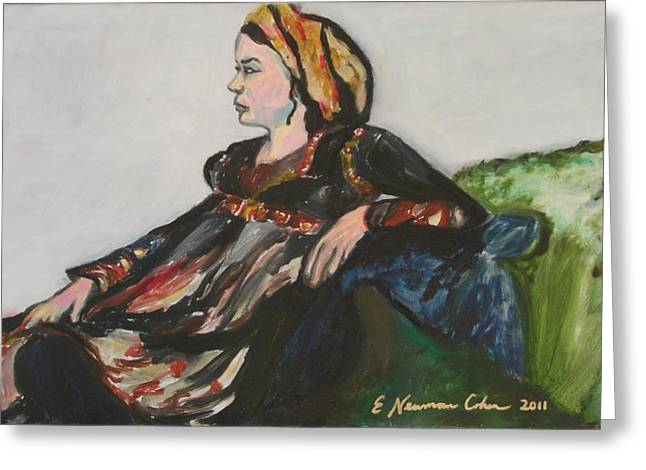 Seated Woman Greeting Card Greeting Cards - Salome Greeting Card by Esther Newman-Cohen