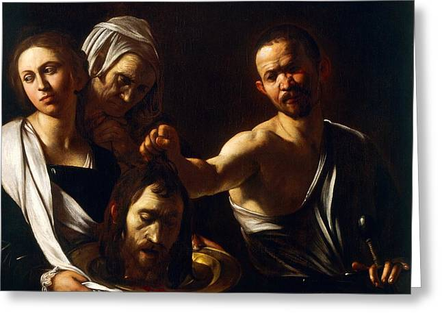 Michelangelo Caravaggio Greeting Cards - Salome receives head of John the Baptist Greeting Card by Michelangelo Merisi da Caravaggio