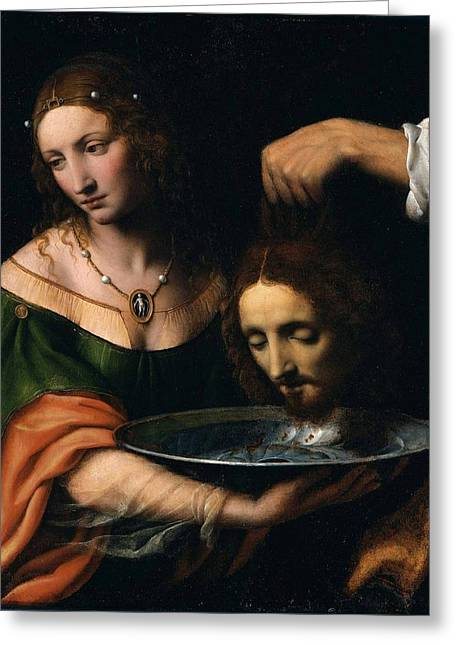 Child Jesus Greeting Cards - Salome with the Head of John the Baptist Greeting Card by Celestial Images