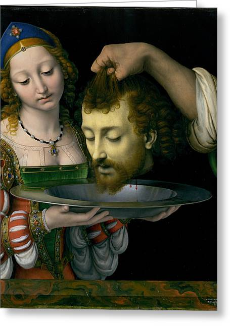 Salome Greeting Cards - Salome with the Head of Saint John the Baptist Greeting Card by Andrea Solario