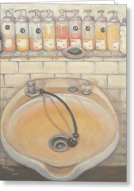 Hair-washing Paintings Greeting Cards - Salon #3 Greeting Card by Donelli  DiMaria