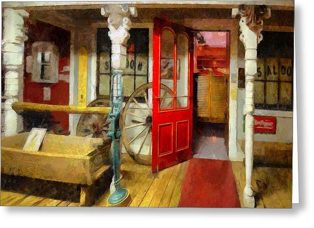 Entryway Paintings Greeting Cards - Saloon Greeting Card by L Wright