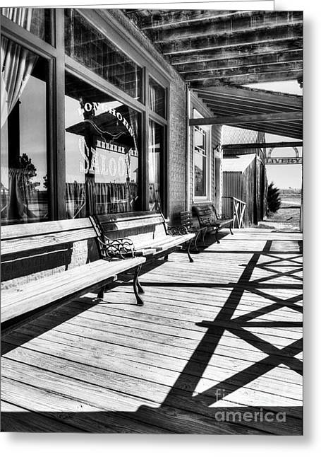 Saloons Greeting Cards - Saloon Shadows BW Greeting Card by Mel Steinhauer