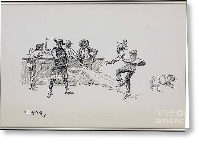 Saloons Drawings Greeting Cards - Saloon Shooting Greeting Card by Charles M Russell
