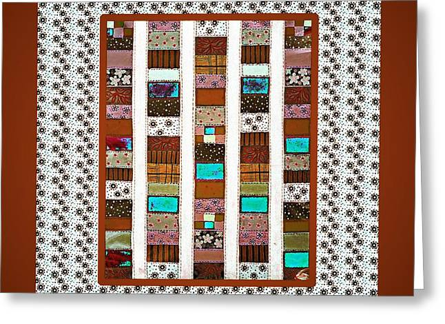 Brown Tapestries - Textiles Greeting Cards - Salsa Quilt 2 Greeting Card by Barbara Griffin