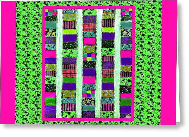 Bright Colors Tapestries - Textiles Greeting Cards - Salsa Quilt 3 Greeting Card by Barbara Griffin