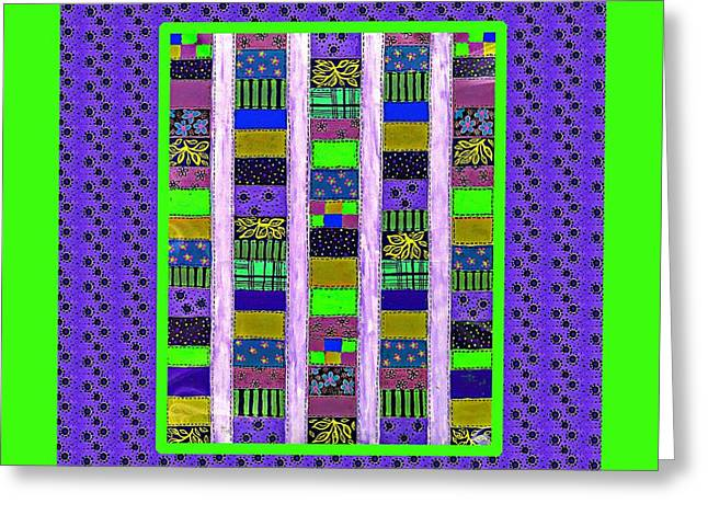 Bright Colors Tapestries - Textiles Greeting Cards - Salsa Quilt 4 Greeting Card by Barbara Griffin