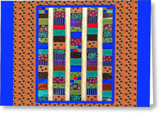 Bright Colors Tapestries - Textiles Greeting Cards - Salsa Quilt Greeting Card by Barbara Griffin