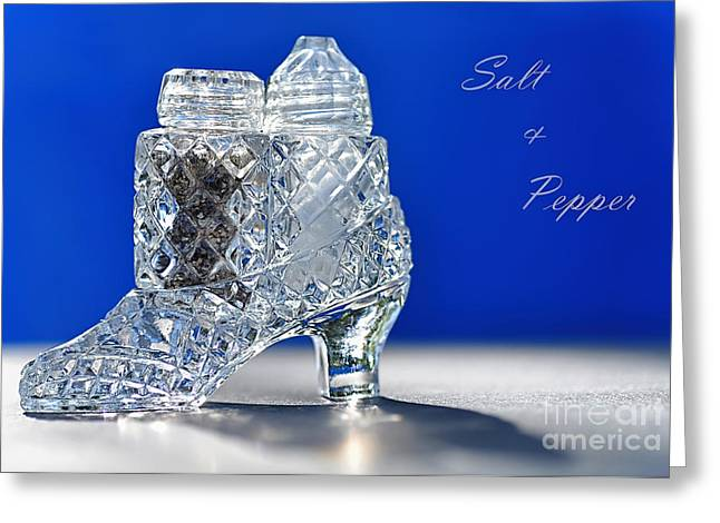 Antique Glass Greeting Cards - Salt and Pepper in a Slipper - Antique Greeting Card by Kaye Menner