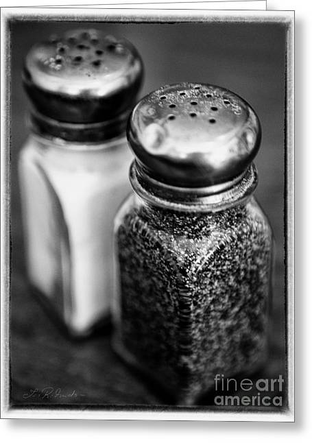 Kitchen Greeting Cards - Salt and Pepper Shaker  Black and White Greeting Card by Iris Richardson