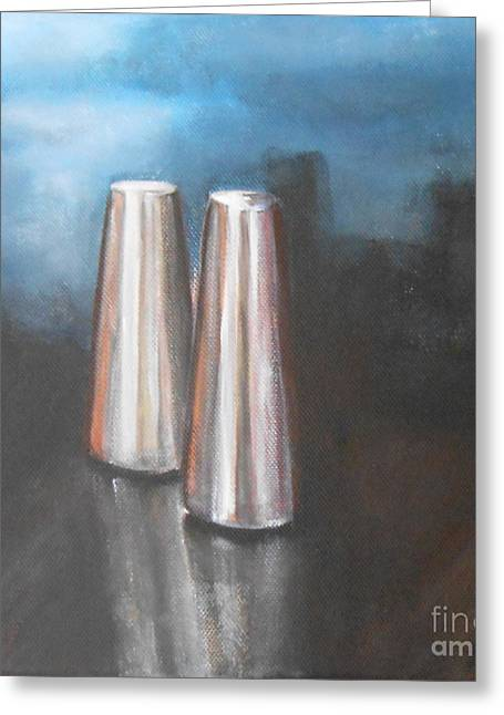 Jane See Art Greeting Cards - Salt and Pepper Shakers Greeting Card by Jane  See