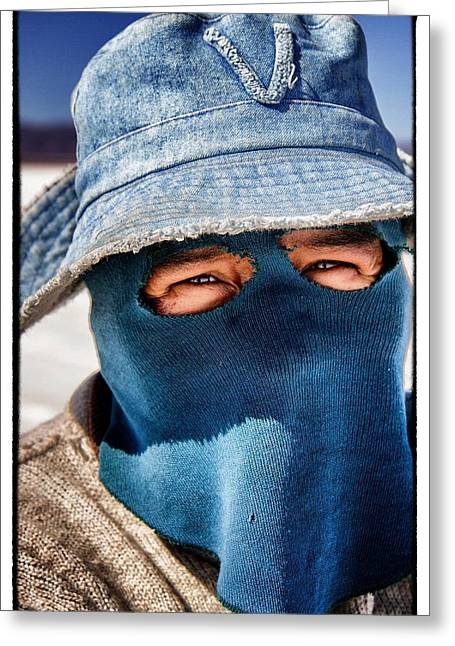 Bolivia Guide Greeting Cards - Salt Flat Miner Framed Greeting Card by For Ninety One Days