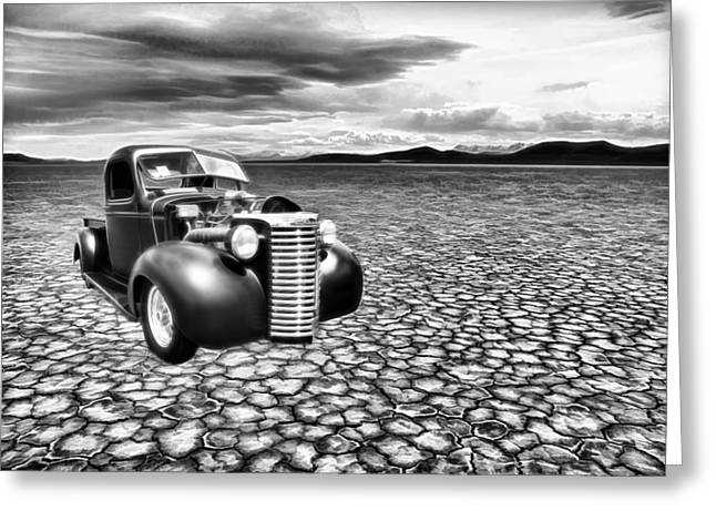 1950 Merc Greeting Cards - Salt Flats Chevy Greeting Card by Steve McKinzie