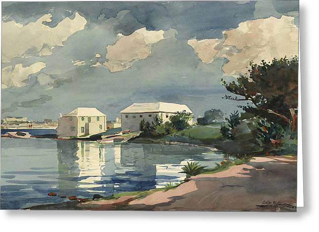 Ocean Landscape Drawings Greeting Cards - Salt Kettle Bermuda Greeting Card by Winslow Homer