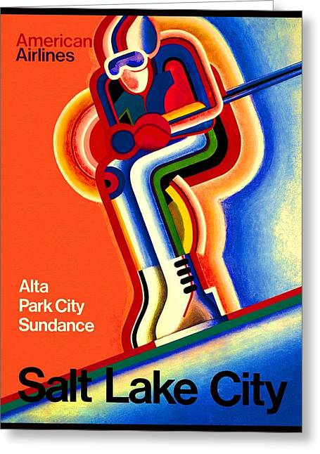 Olympics Drawings Greeting Cards - Salt Lake City 2002 Olympic Games American Airlines Advertisement Greeting Card by Movie Poster Prints