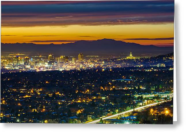 Capitol Building Greeting Cards - Salt Lake City At Dusk Greeting Card by James Udall