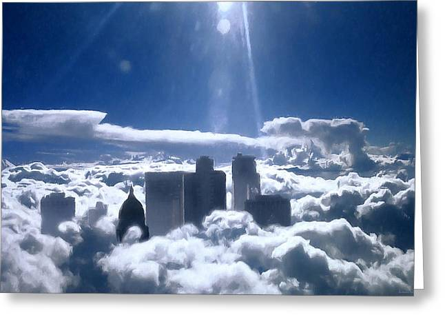 Inversion Digital Art Greeting Cards - Salt Lake City in the Clouds Greeting Card by Barbara D Richards