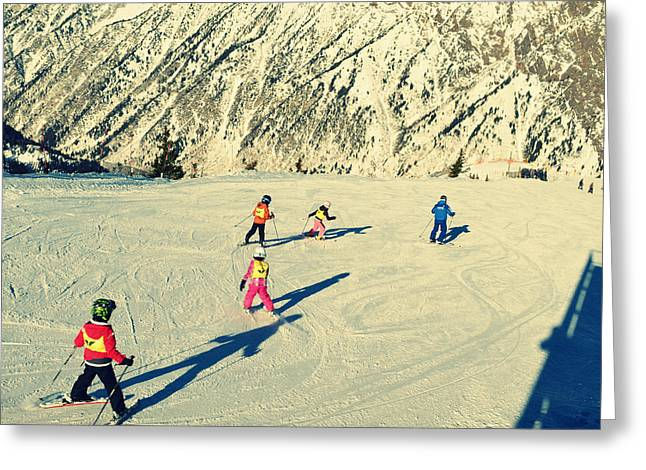 Landscape And Scenic Greeting Cards - Salt Lake City Kids Skiing on the Mountain Greeting Card by Patricia Awapara
