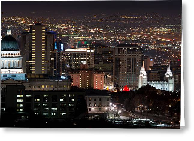 Salt Lake City Temple Greeting Cards - Salt Lake City Lights Greeting Card by Dustin  LeFevre