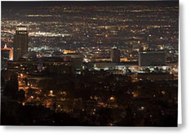 Jordan River Temple Greeting Cards - Salt Lake CIty Panorama Greeting Card by Dustin  LeFevre