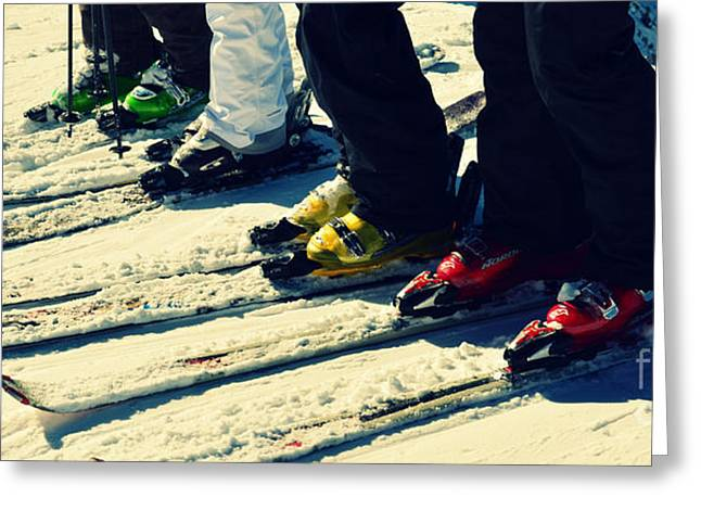 Winter Sports Picture Greeting Cards - Salt Lake City Ski Boots in Powder Snow Greeting Card by Patricia Awapara