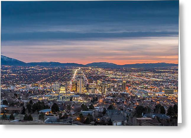 Salt Greeting Cards - Salt Lake City Skyline at Dusk Greeting Card by Duane Miller