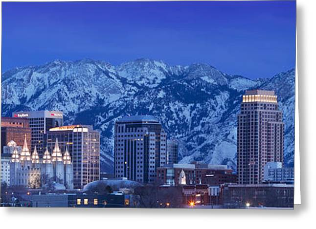 Snowy Evening Greeting Cards - Salt Lake City Skyline Greeting Card by Brian Jannsen