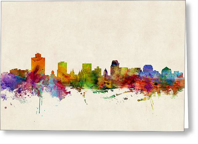 Salt Lake City - Utah Greeting Cards - Salt Lake City Skyline Greeting Card by Michael Tompsett