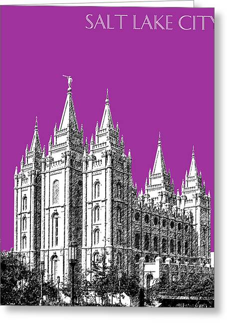 Salt Lake City - Utah Greeting Cards - Salt Lake City Skyline Mormon Temple - Plum Greeting Card by DB Artist