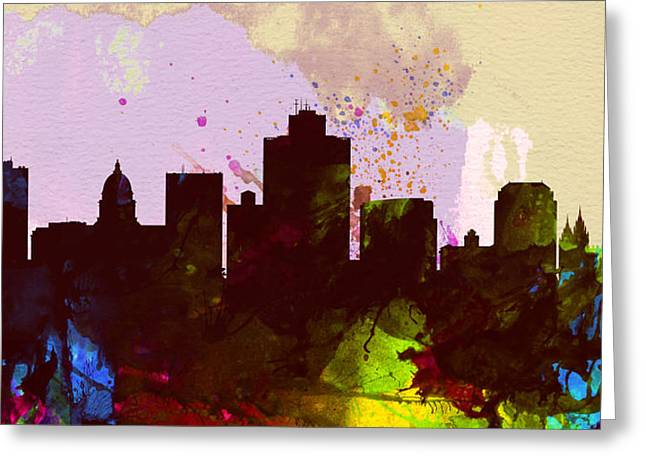 Salt Greeting Cards - Salt Lake City Skyline Greeting Card by Naxart Studio