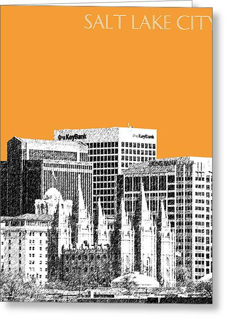 Salt Lake City - Utah Greeting Cards - Salt Lake City Skyline - Orange Greeting Card by DB Artist