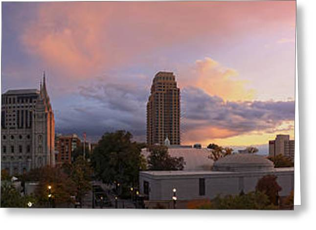 Salt Lake City Temple Greeting Cards - Salt Lake City Sunset Greeting Card by Dustin  LeFevre