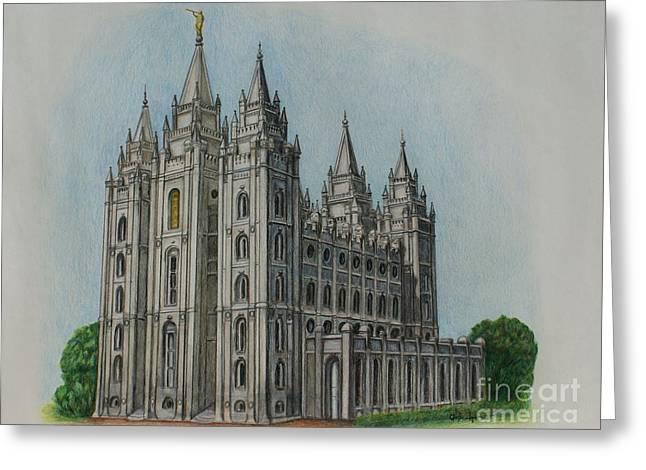 Salt Lake City Temple Drawings Greeting Cards - Salt Lake City Temple I Greeting Card by Christine Jepsen