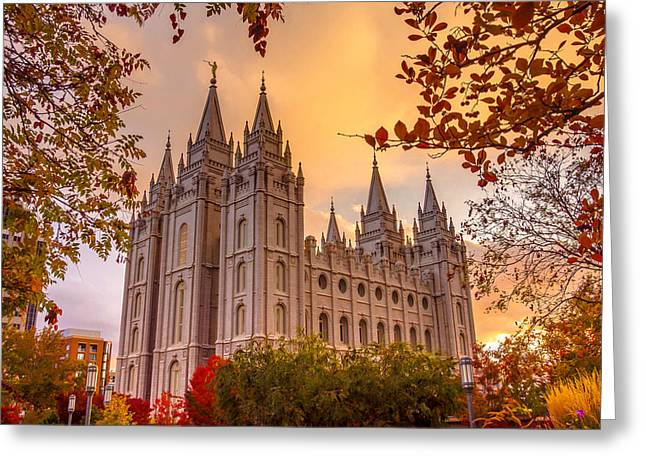Salt Lake City Temple Greeting Card by Emily Dickey