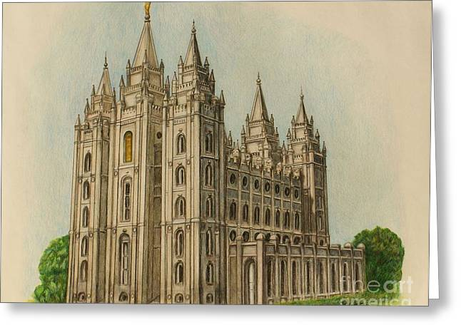 Slc Drawings Greeting Cards - Salt Lake City Temple II Greeting Card by Christine Jepsen