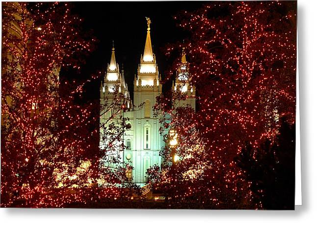 Religious Greeting Cards - Salt Lake City Temple Square at Christmas Greeting Card by Lane Erickson